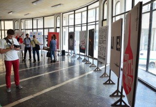Exhibit at Zoloti Vorota Metro station in Kyiv, June 2015